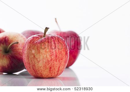 Juicy Red Apples On White Background