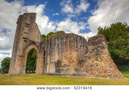 The Detail Of Ruins Abbey In Glastonbury
