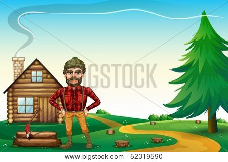 Illustration of a lumberjack standing in front of the wooden farmhouse