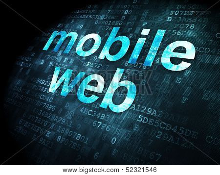 SEO web development concept: Mobile Web on digital background