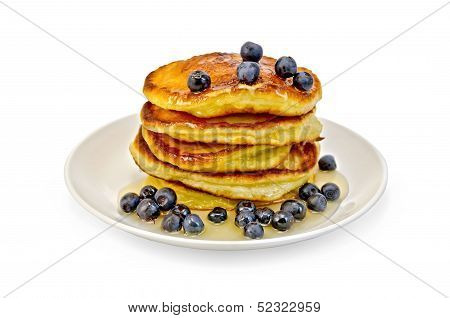 Flapjacks With Blueberries And Honey