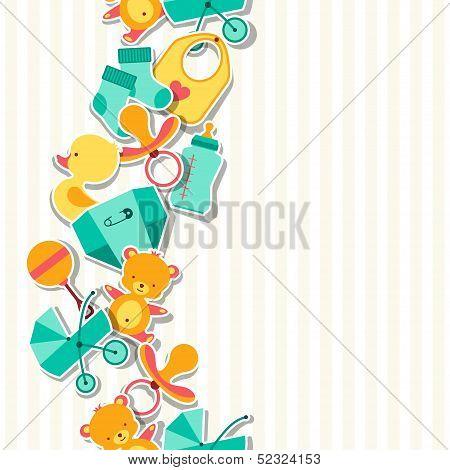 Seamless pattern with newborn baby stickers.