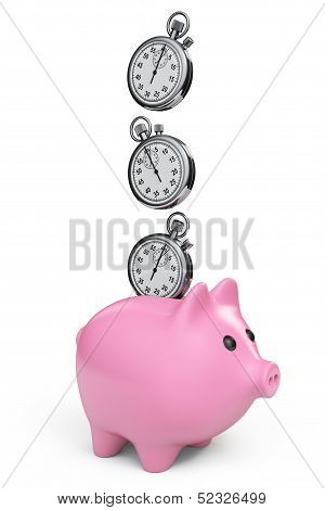 Time Save Concept. Piggy Bank With Stopwatch