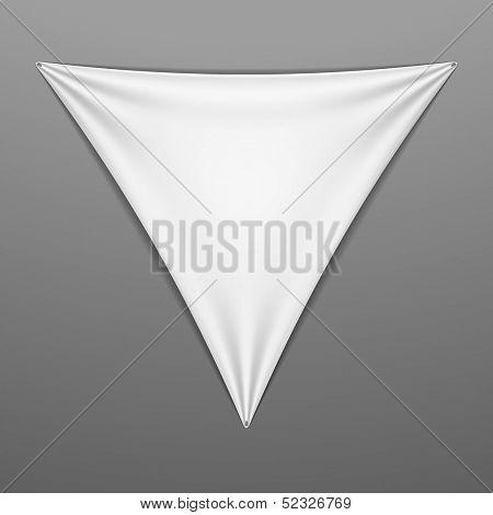 White stretched triangular shape with folds. Vector.