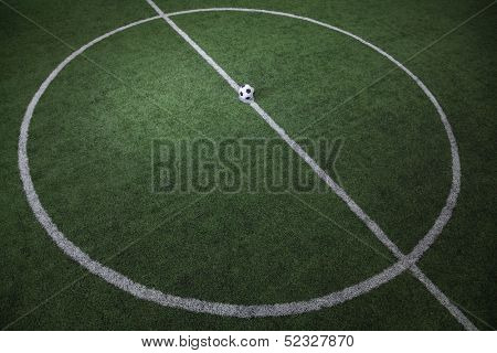 High angle view of soccer field with soccer ball on the line