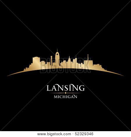 Lansing Michigan City Silhouette Black Background
