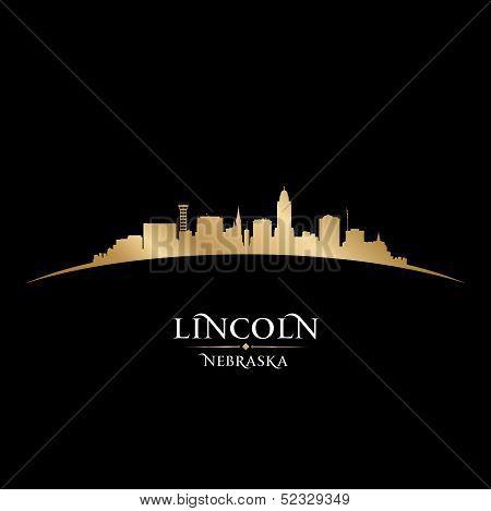 Lincoln Nebraska City Silhouette Black Background