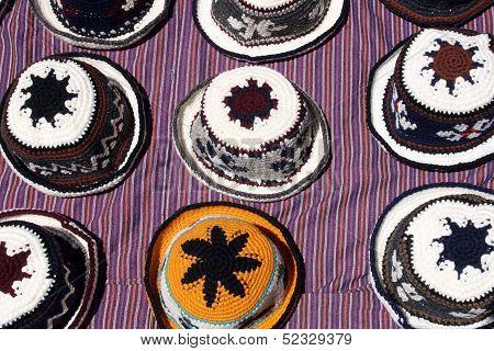 Knit Hats on a Blanket