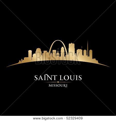 Saint Louis Missouri City Silhouette Black Background