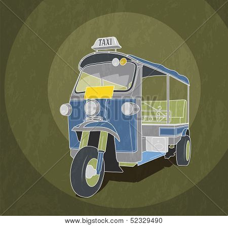 Tuk-tuk retro illustration