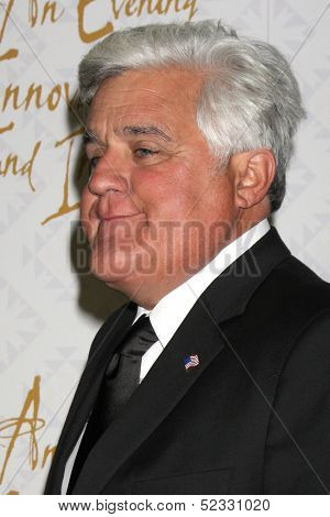 LOS ANGELES - OCT 13:  Jay Leno at the 10th Alfred Mann Foundation Gala at Robinson-May Lot on October 13, 2013 in Beverly Hills, CA