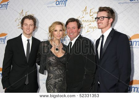LOS ANGELES - OCT 13:  Janet Jones Gretzky, Wayne Gretzky, sons at the 10th Alfred Mann Foundation Gala at Robinson-May Lot on October 13, 2013 in Beverly Hills, CA