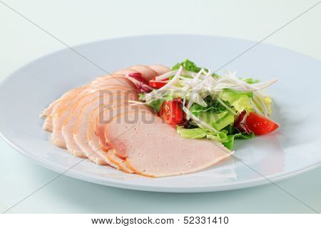 Dietetic dinner salad and chicken ham