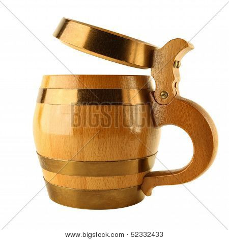 Mug For Beer As Wooden Barrel