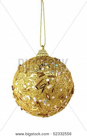 Gold Christmas Ball Isolated