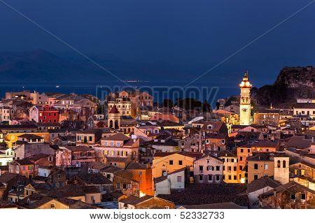 Panoramic View Of The Citylights Of Corfu Town At Night. Kerkyra. Greece, Corfu Island