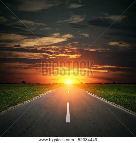 Asphalt Road To Horizon And Sunset