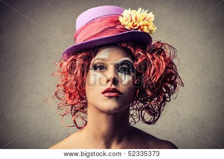 portrait of a beautiful clown