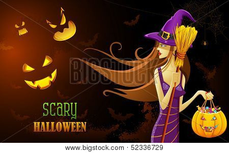 illustration of scary Witch in Halloween Night