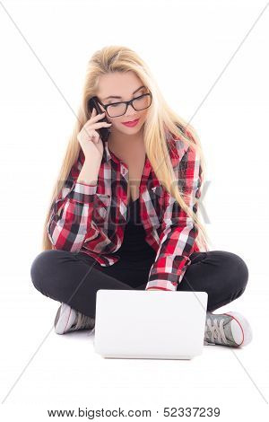 Young Blondie Woman Sitting With Laptop And Mobile Phone Isolated On White