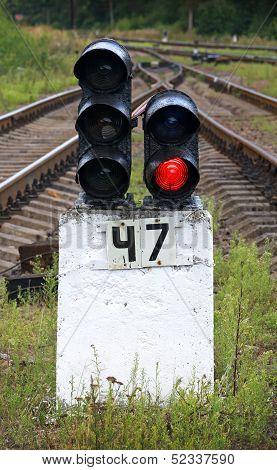 Railway Semaphore Shows Red Light