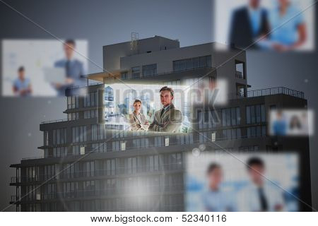 Futuristic interface showing business people with premises on background at dusk
