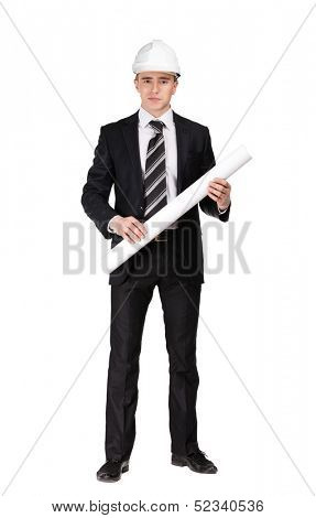 Man in white headpiece with blueprint, isolated on white