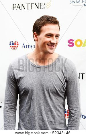 NEW YORK- OCT 8: Olympic gold medalist Ryan Lochte attends Day 1 of 'Swim For Relief' benefiting Hurricane Sandy Recovery at Herald Square on October 8, 2013 in New York City.