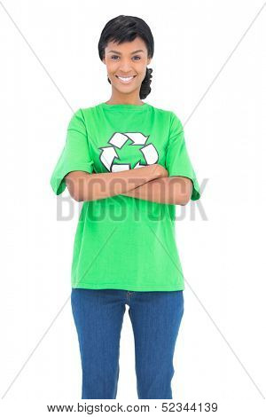 Cheerful ecologist posing with crossed arms on white background