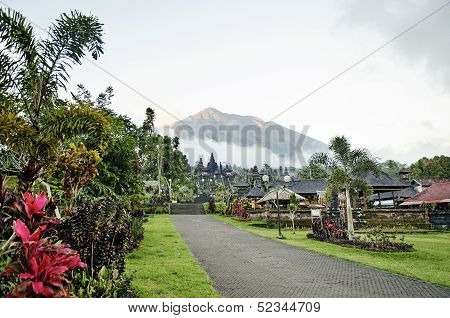 Besakih Temple And Mount Agung View In Bali Indonesia