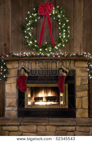 Christmas Fireplace Hearth With Wreath And Stockings