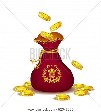 Royal bag with gold coins
