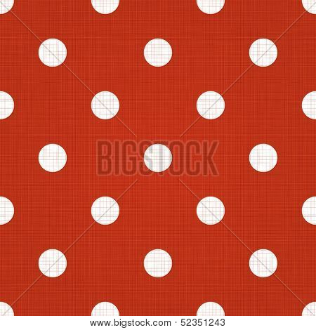 Red spotted pattern. Vector red seamless spotted pattern background. Red linen spotted textile pattern. Red polka dot pattern