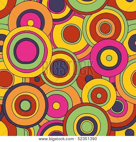 circles seamless, bright, written by hand, psychedelic pattern