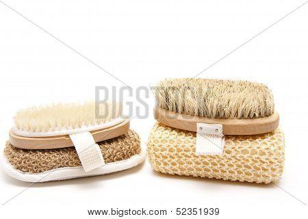 Back brush with massage sponge