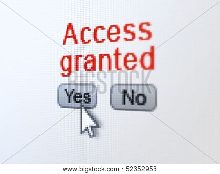 Protection concept: Access Granted on digital computer screen