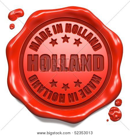 Made in Holland - Stamp on Red Wax Seal.
