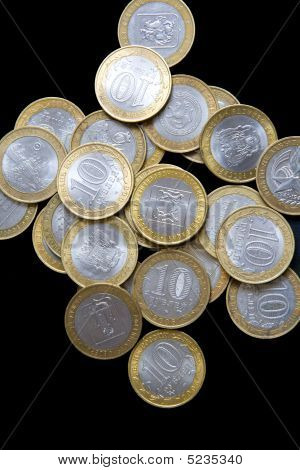 Pile Of Russian Commemorative Bimetallic Coins