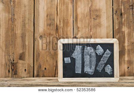 Ten percent written on blackboard