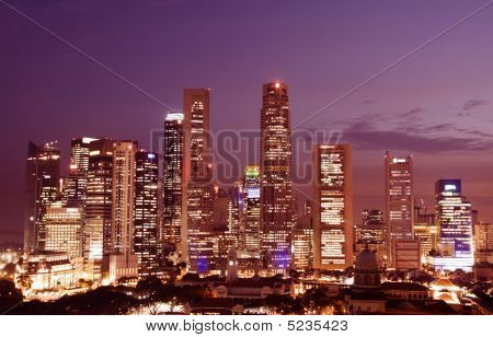 Singapore Downtown At Dusk