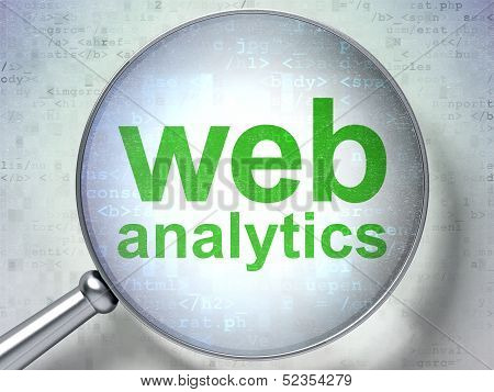 SEO web design concept: Web Analytics with optical glass