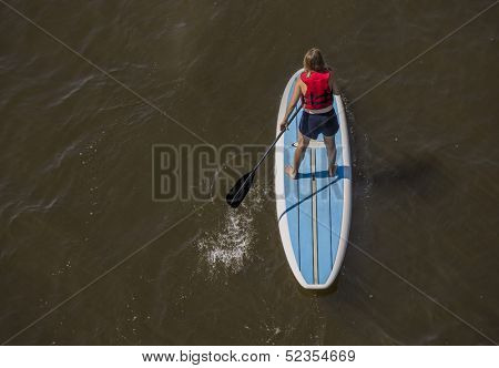 female from behind paddling a paddleboard on river