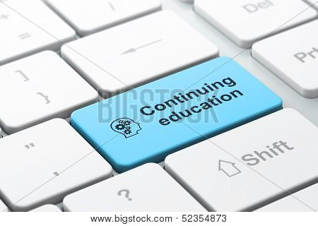 Education concept: Head With Gears and Continuing Education on c