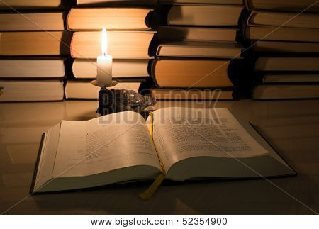 Gospel New Testament, Candle And Other Books