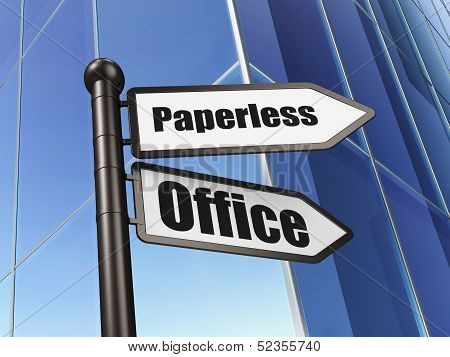 Finance concept: Paperless Office on Building background