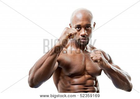 Muscular Man Fists Up