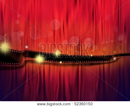 Strip of film on red tone background