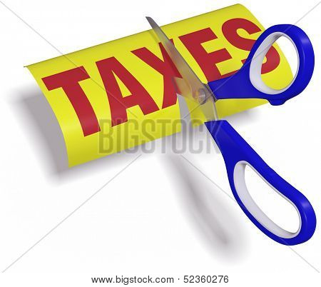 Pair of scissors cuts unfair too high taxes in half with clipping path