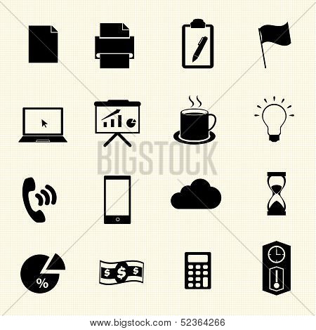 Business & office icons on texture background