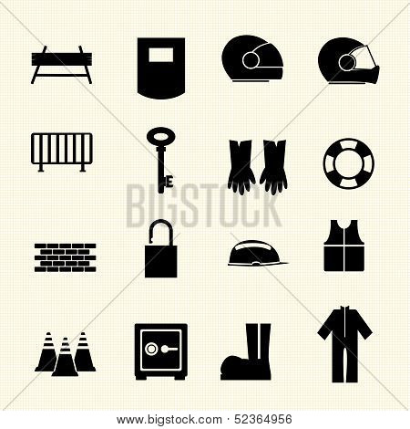 Safety icons set. Vector